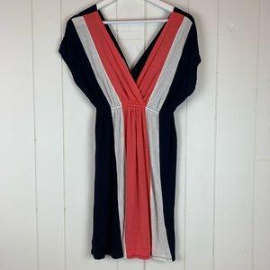 Pink Rose XL Mini Dress V Neck Stripes